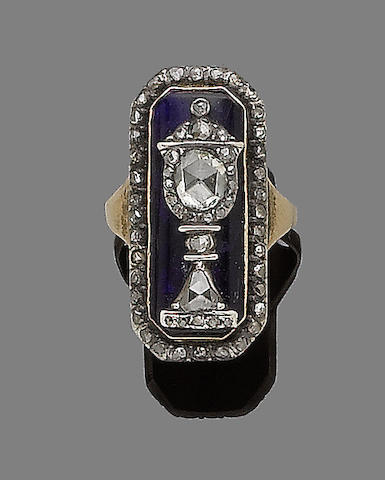 A blue glass and diamond mourning ring,
