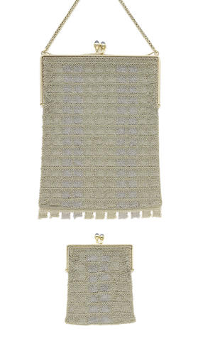 A pair of sapphire and gold mesh-link purses, (2) (illustrated to the left)