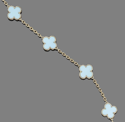 A turquoise 'Alhambra' necklace, by Van Cleef & Arpels