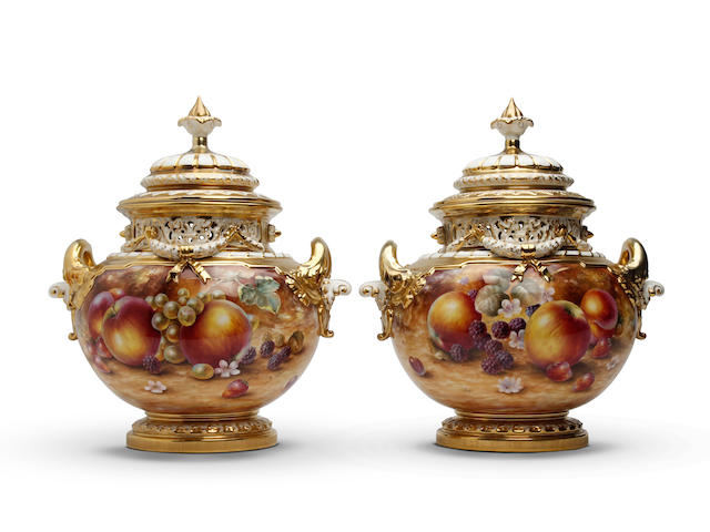 A very large pair of Royal Worcester fruit painted vases and covers, painted by Sally Wood Post War