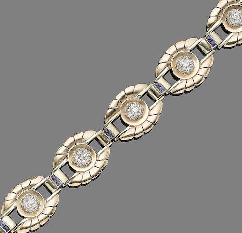 A sapphire and diamond bracelet,