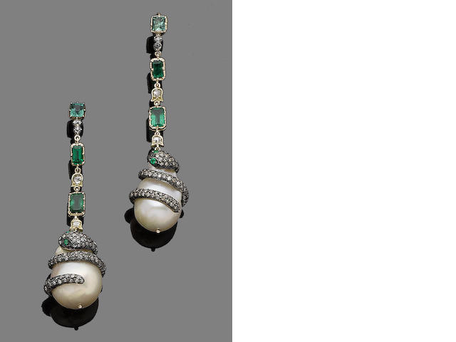 A pair of emerald, cultured pearl and diamond pendent earrings