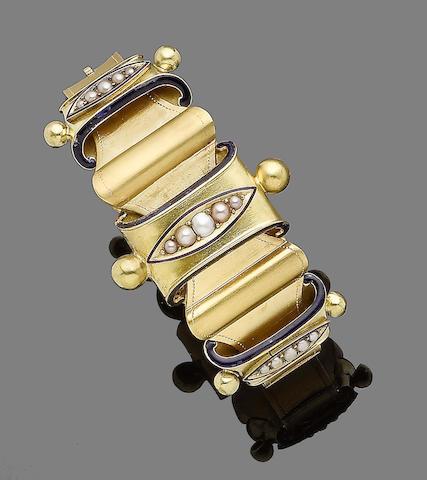 A seed pearl and enamel bangle,