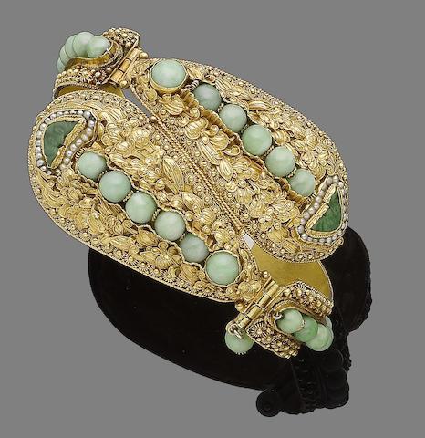 A jadeite and seed pearl bangle