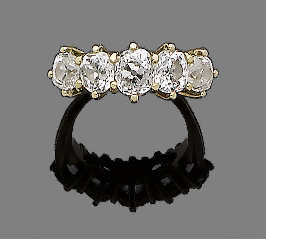 A diamond five-stone ring and ring mount  (2) (partially illustrated)