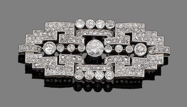 A diamond plaque brooch