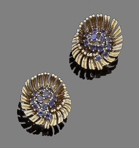 A pair of sapphire earclips, by Régner