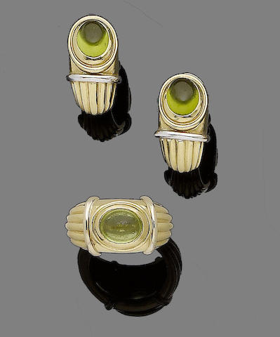 A peridot ring and earring suite, by Boucheron (2)