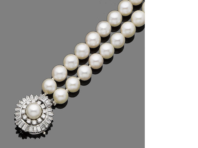 A double strand cultured pearl necklace and diamond clasp