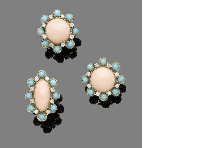 A coral, turquoise and diamond ring and earring suite, by Ben Rosenfeld,  (2)