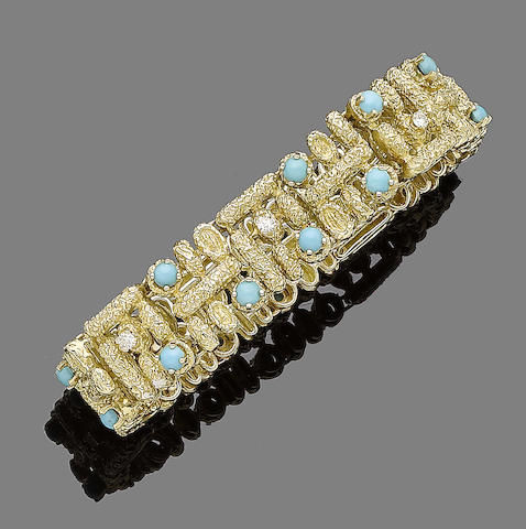 A gold, turquoise and diamond bracelet,