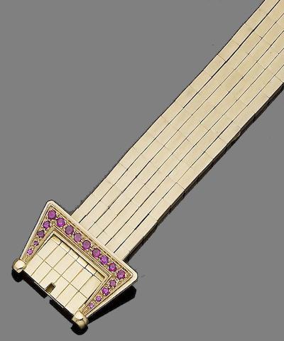 A ruby buckle bracelet