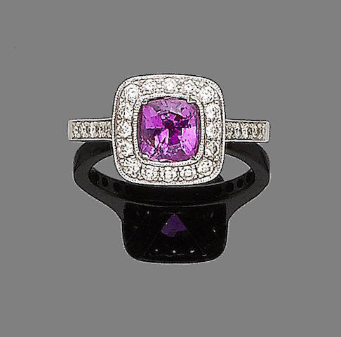 A pink sapphire cluster ring