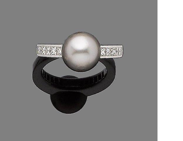 A cultured pearl and diamond ring, by Mikimoto