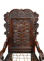 An extremely near pair of Charles II oak panel back armchairsSouth-West Yorkshire, circa 1670