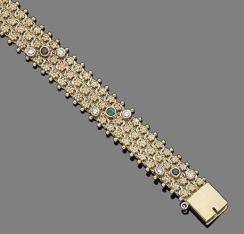 A sapphire, emerald, ruby and diamond  bracelet