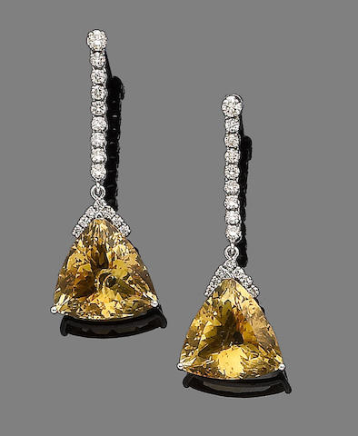 A pair of citrine and diamond pendent earrings