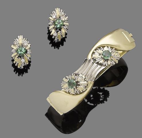 A tourmaline bangle and tourmaline and diamond earring suite (2)