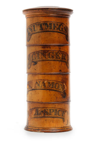 An early 19th century sycamore four-tier 'Sussex' spice towerCirca 1820