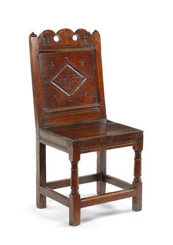 A Charles II oak backstool Southern Lancashire/North Cheshire, circa 1680