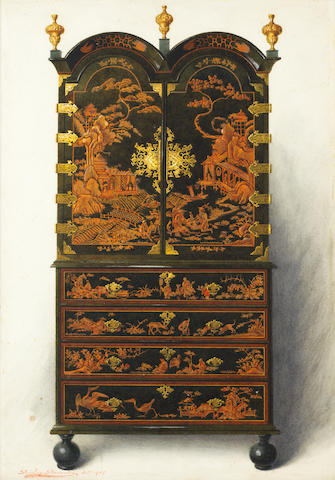 Shirley Charles Llewellyn Slocombe (British), Early 20th century A depiction of a William and Mary Japanned cabinet on chest