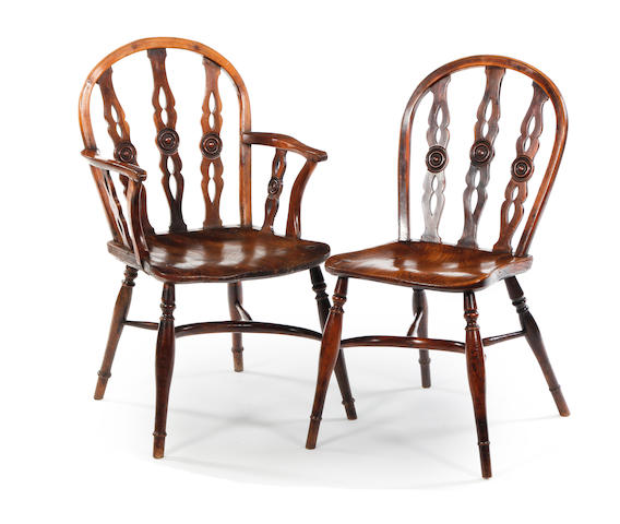 A harlequin set of eight yew,elm and ash Windsor chairs, including two armchairs Attributed to the Prior Family workshop, Buckingham, namely Robert Prior, (w.1816-1845)