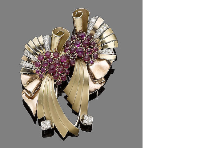 A ruby and diamond double-clip brooch,