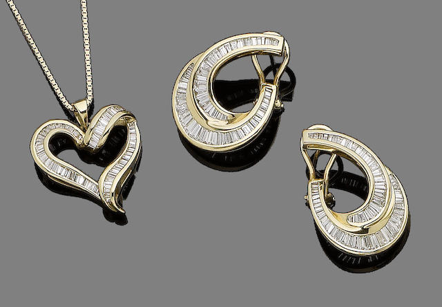 A diamond-set pendant necklace and a pair of earrings (2)