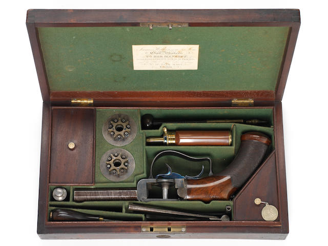 An Exceptionally Fine And Rare Cased 64-Bore Seven-Shot Percussion 'Turret' Revolver