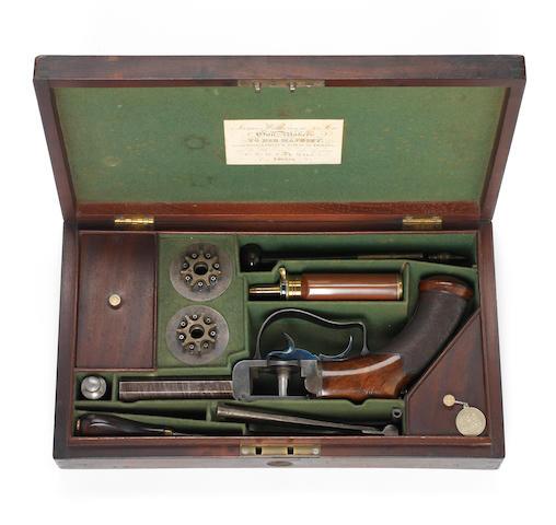 An Exceptionally Fine And Rare Cased 64-Bore Seven-Shot Percussion 'Turret' Revolver