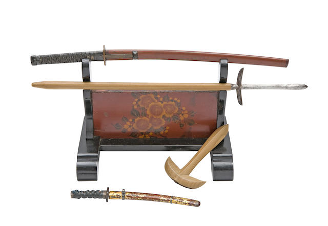 A Miniature Magari Yari, Two Miniature Swords, And A Miniature Katana Kake