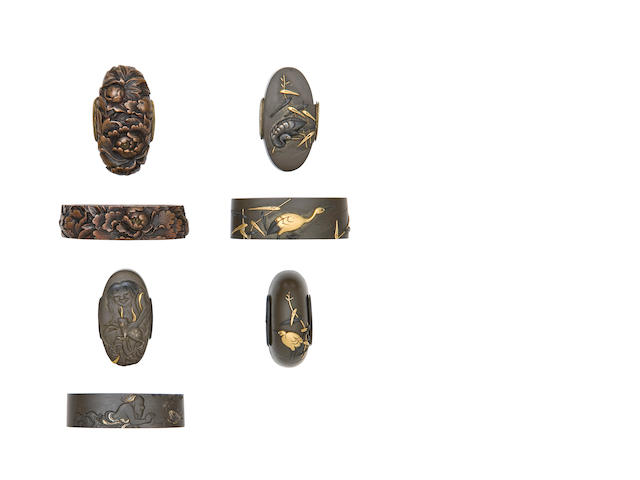 Three Pairs Of Fuchi-Kashira, And A Kurikata