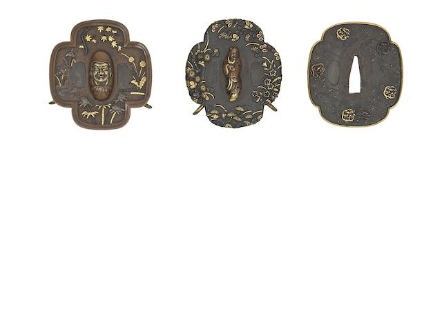 Three Mokko-Shaped Soft-Metal Tsuba