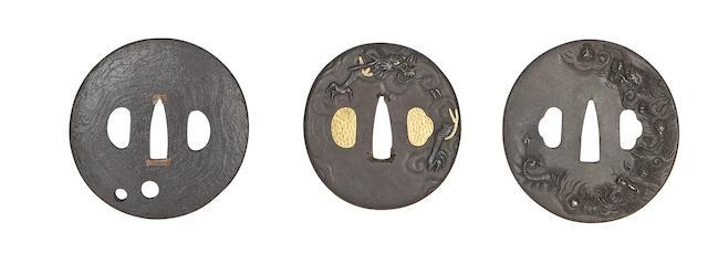 Three Circular Iron Tsuba