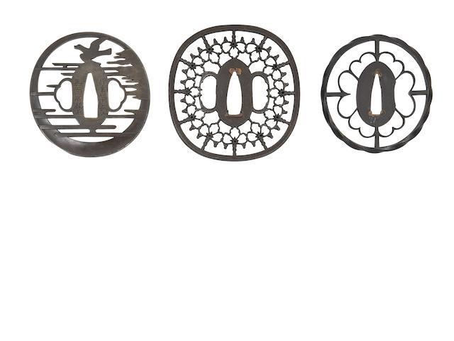 Three Circular Iron Sukashi Tsuba