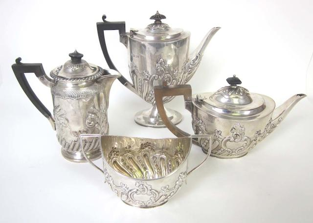 A Victorian silver three piece tea and coffee service By William Gibson & John Lawrence Langman, London 1896/7  (4)