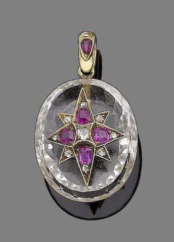 A late 19th century rock crystal, ruby and diamond pendant