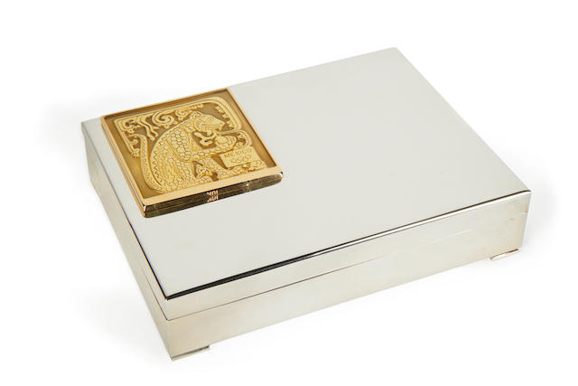 Lord Burghley A silver box with gold panel, engraved with the Mexico Games motif