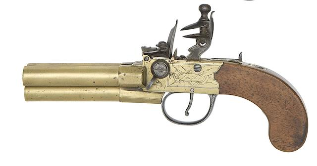 A 100-Bore Three-Barrelled Flintlock Box-Lock Tap-Action Pistol
