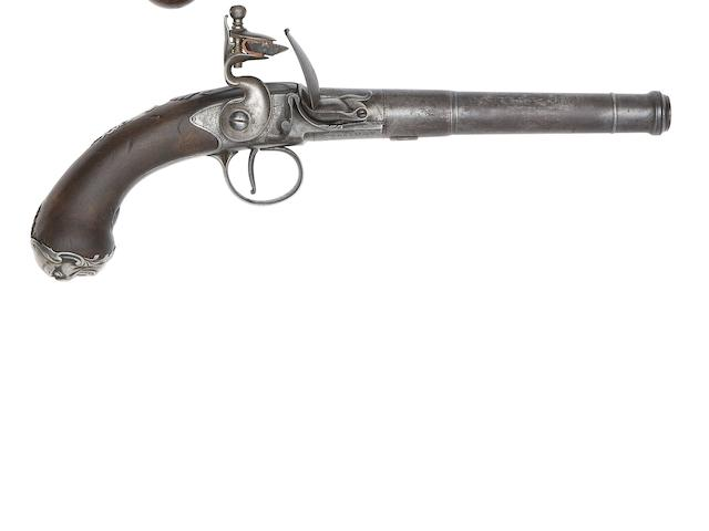 A 20-Bore Silver-Mounted Flintlock Turn-Off Pistol