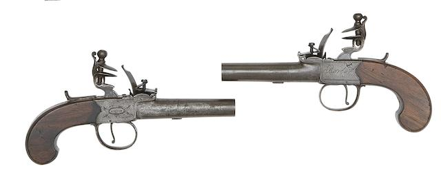 A Pair Of 50-Bore Flintlock Box-Lock Pocket Pistols