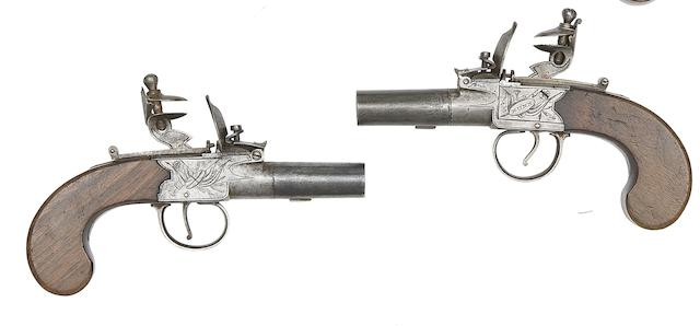 A Pair of 40-Bore Rifled Flintlock Box-Lock Pocket Pistols