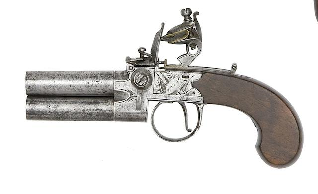 An 60-Bore Flintlock Box-Lock Over-And-Under Tap-Action Pistol, And A 50-Bore Flintlock Box-Lock Pocket Pistol
