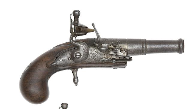 A Fine 54-Bore Flintlock Rifled Turn-Off Pocket Pistol