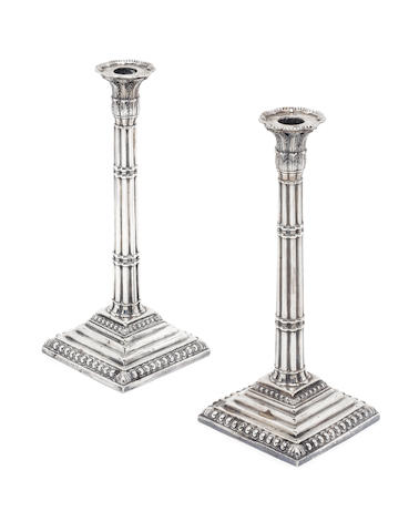 A pair of George III silver candlesticks possibly by John Carter II, see Jacksons 1214, London 1767  (2)
