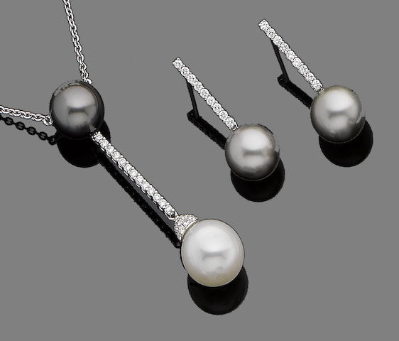 A cultured pearl and diamond pendant necklace and earring suite, by Schoeffel  (2)