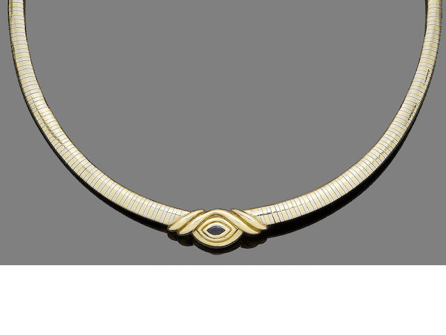A sapphire collar necklace, by Cartier