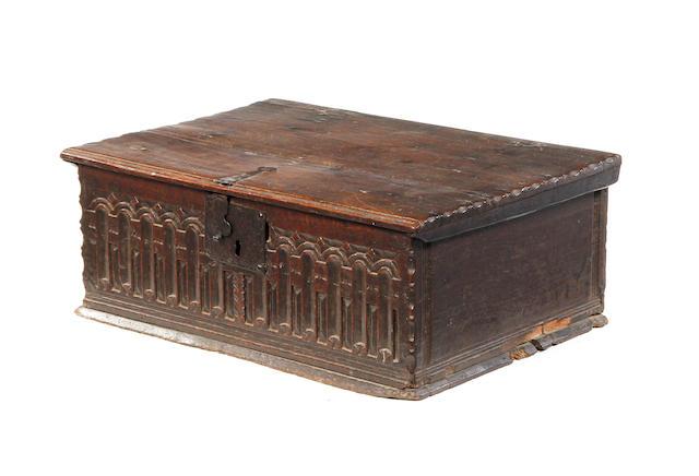 A good Elizabeth I boarded oak desk box