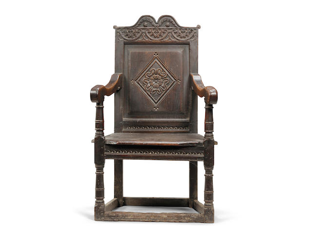 A Charles I oak open armchair West Country, circa 1630