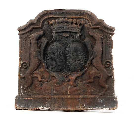 An 18th century cast iron armorial fire-back, French